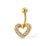 Gold Tone belly button ring with CZ-paved heart