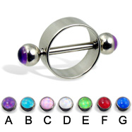 Nipple ring with hologram balls, 12 ga or 14 ga