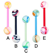 Multicolor marble bioplast tongue ring, 14 ga