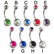 Double jeweled belly button ring