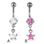 Belly button ring with dangling star shaped gem