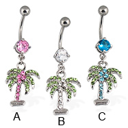 Palm belly button ring