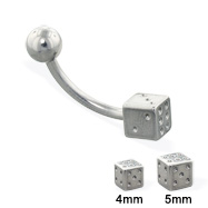 Die and ball curved barbell, 14 ga