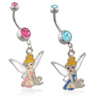 Belly ring with dangling light blue tinkerbell