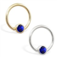 14K Gold captive bead ring with Sapphire