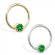 14K Gold captive bead ring with Emerald