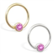 14K Gold captive bead ring with Pink Tourmaline