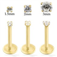14K Gold internally threaded labret with Cubic Zirconia