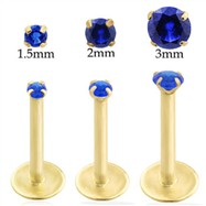 14K Gold internally threaded labret with Sapphire