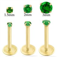 14K Gold internally threaded labret with emerald
