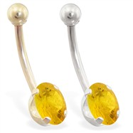 14K Gold belly ring with 8mm x 6mm oval Citrine