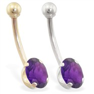 14K Gold Belly Ring with 8mm x 6mm Oval Amethyst