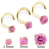 14K Gold Nose Screw With Round Pink Tourmaline