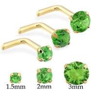 14K Gold L-shaped Nose Pin with Round Peridot