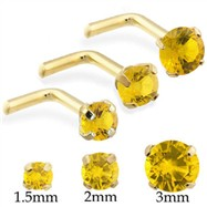 14K Gold L-shaped Nose Pin Nose Screw with Round Citrine