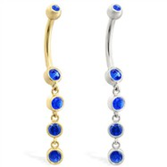 14K Gold belly ring with quadruple Sapphire dangle