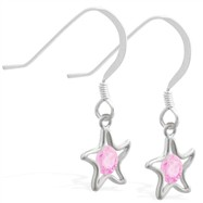 Sterling Silver Earrings with dangling Pink Tourmaline jeweled star