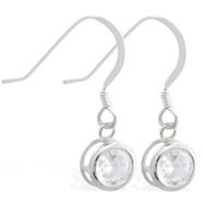 Sterling Silver Earrings with 5mm Bezel Set round 5mm CZ
