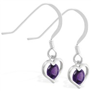 Sterling Silver Earrings with small dangling Amethyst jeweled heart