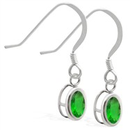 Sterling Silver Earrings with Bezel Set Emerald Oval