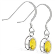 Sterling Silver Earrings with Bezel Set Citrine Oval
