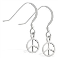 Sterling Silver Earrings with dangling peace sign