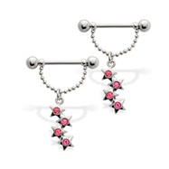 Pair of nipple barbells with dangling jeweled stars, 14 ga