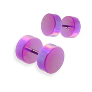 Pair of fake metalic purple plugs, 16GA