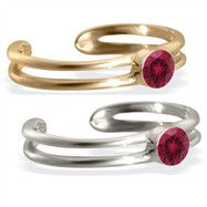 14K gold toe ring with single Ruby gem