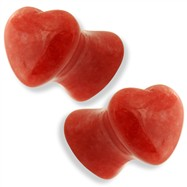Pair Of Heart Shaped Red Jade Natural Stone Saddle Plugs