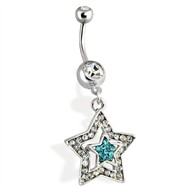 Steel Multi Paved Star Navel Ring Clear with Aqua Star in the center