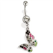 Steel Multi Colored Gem Paved Butterfly Navel Ring
