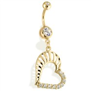 14Kt Gold Tone Navel Ring With Multi Paved CZ Heart