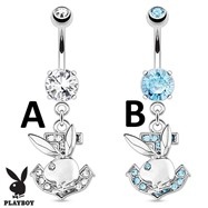 Playboy Bunny with Paved Gemmed Anchor Dangle Steel Navel Ring
