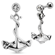 Anchor Dangle Surgical Steel Tragus/Cartilage Barbell