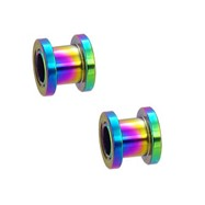Pair Of Titanium Anodized Tunnels with Threaded Back - Rainbow