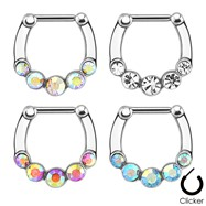 Five Gems 316L Surgical Steel Bar Septum Clicker