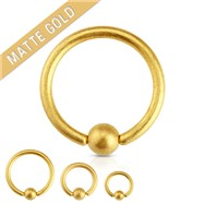 14G Matte Gold IP Over Surgical Steel Captive Bead Ring