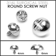 "14G Internally Threaded Surgical Steel ""Screw Top"" Dermal Anchor"