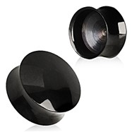 Pair Of Black PVD Plated Convex Hollow Saddle Plugs