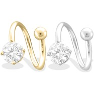 14K  Gold Twister Barbell with 6mm Clear Round Gem, 14Ga