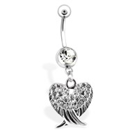 Belly Ring with Jeweled Wings