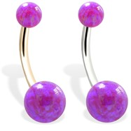 14K Gold Gorgeous Purple Opal Belly Ring