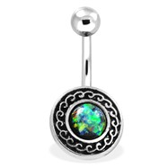 Navel Ring With Multicolor Opal And Tribal Shield