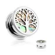 Abalone Inlaid Under Life Tree Screw Fit Flesh Tunnel Plugs