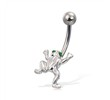 Frog belly button ring with green jeweled eyes