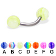 Curved barbell with acrylic layered balls, 14 ga
