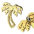 PVD Gold over 316L Stainless Steel Gem Paved Palm Tree Pendant