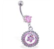 Navel ring with dangling pink jeweled circle with flower