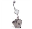 Jeweled diamond shaped belly ring with dangling poker cards